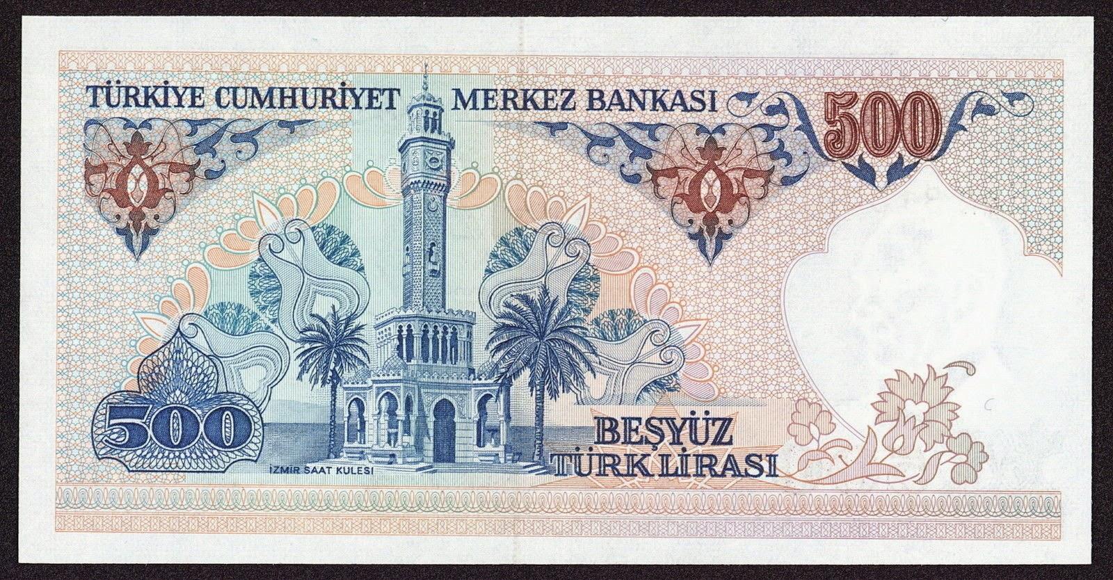 "Turkey currency money 500 Turkish Lira ""Türk Lirasi"" note, İzmir Clock Tower"