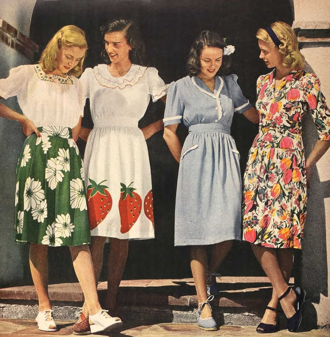 Girls Fashion Styles: Snapped Garters: 1944 Fashions IN COLOUR