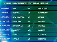 Jadwal Liga Champions Babak 16 Besar Dan Hasil Skor