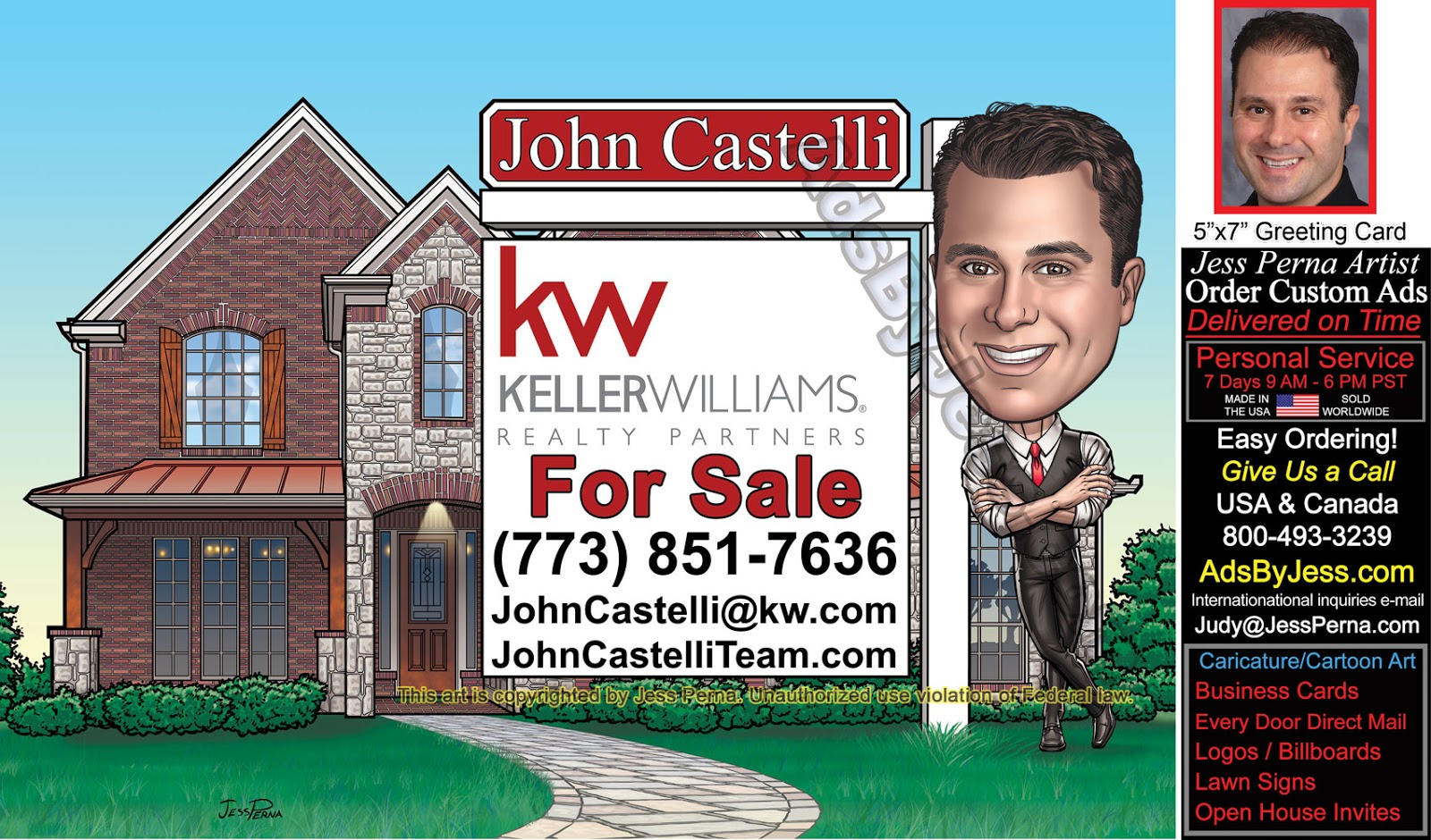 How to order ad cartoons and caricatures from a freelance order kw for sale sign business card ad reheart Image collections