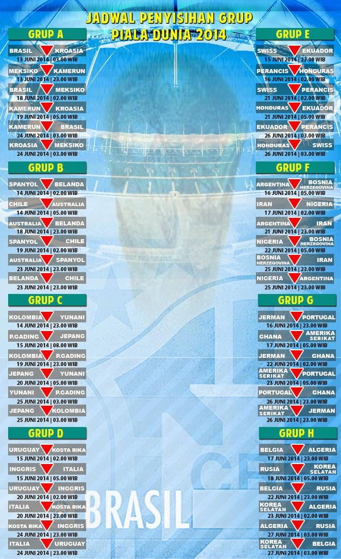 Laga pembuka menyajikan pertarungan tuan rumah Brasil vs Kroasia Inilah Jadwal Piala Dunia 2014
