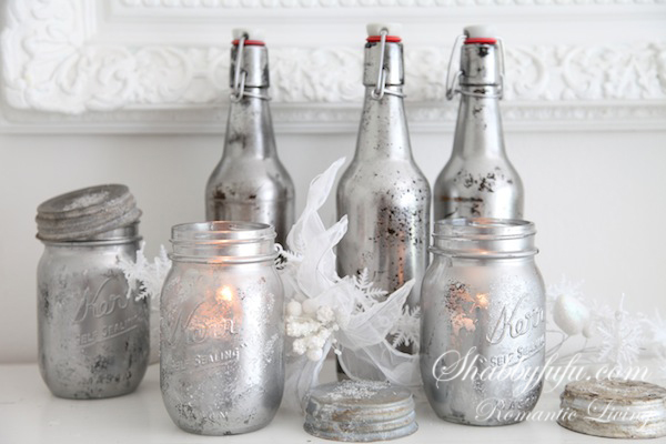 faux mercury glass mason jars