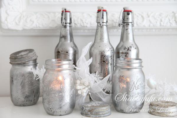 faux mercury glass mason jars