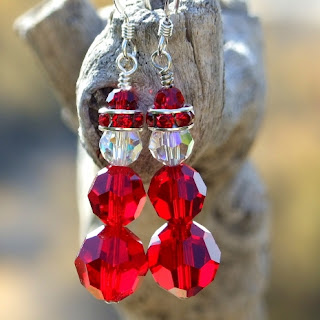 swarovski crystals santa earrings for christmas