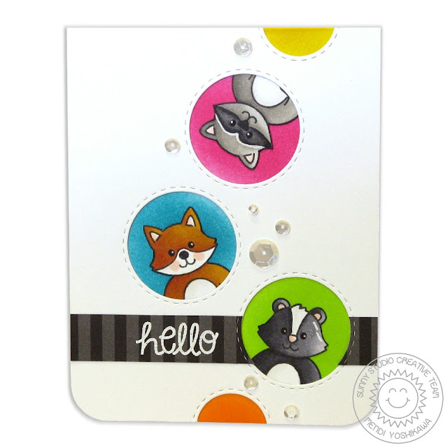 Sunny Studio Stamps: Woodsy Creatures Racoon, Fox & Skunk Card by Mendi Yoshikawa
