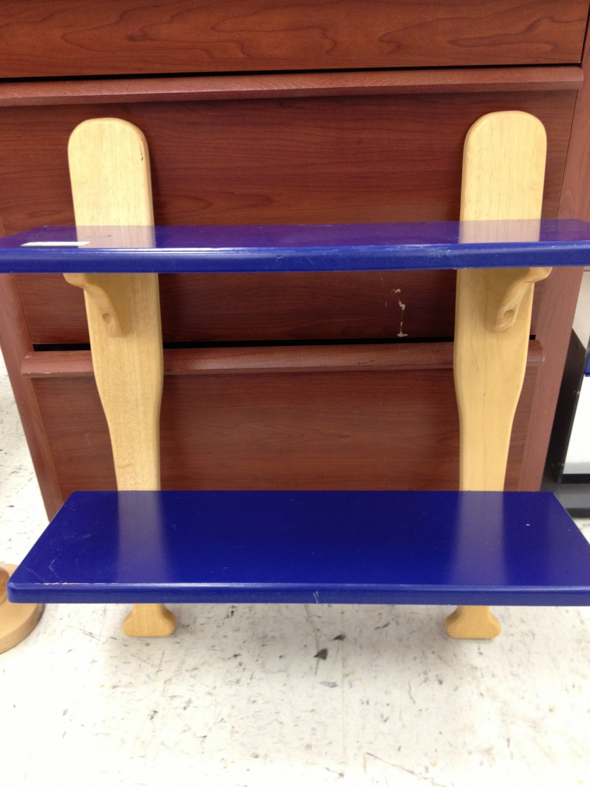 It Was Your Basic Baseball Shelf That Needed Some TLC Had Scratches And Of The Wood Chipped Off On Corners Shelves