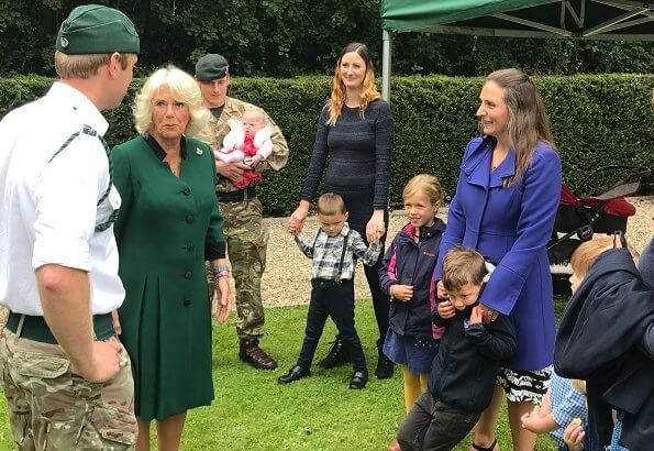 Prince Philip had been the Colonel in Chief of The Rifles since its formation. The Duchess is wearing a green coat dress and a bugle brooch