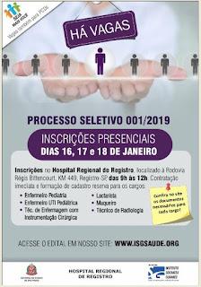 Hospital Regional de Registro-SP abre novo processo seletivo