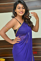 Actress Priya in Blue Saree and Sleevelss Choli at Javed Habib Salon launch ~  Exclusive Galleries 008.jpg