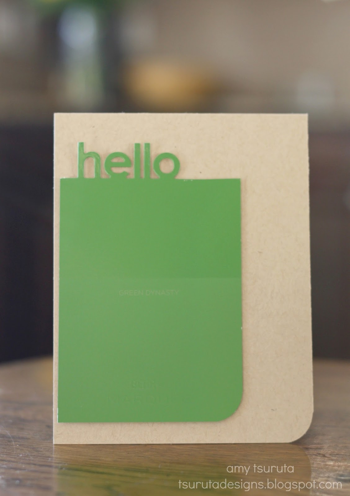 Paint Chip Hello Card by Amy Tsuruta