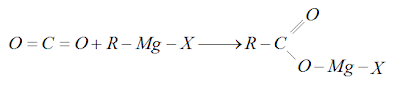 reação do gás carbônico em meio etérico, com composto de grignard