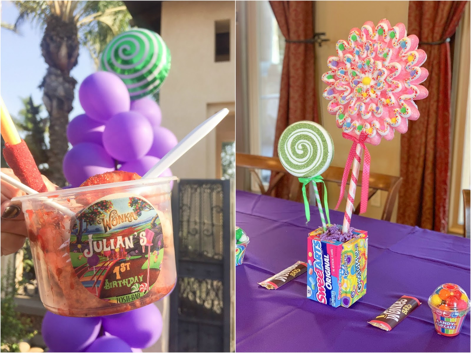 candy centerpieces, wonka centerpieces, wonka party decor