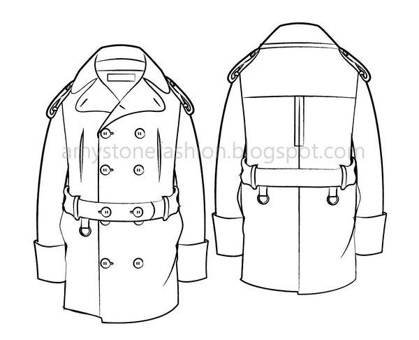 Amy Stone Fashion Flat Sketches: Men\'s military coat flat fashion ...