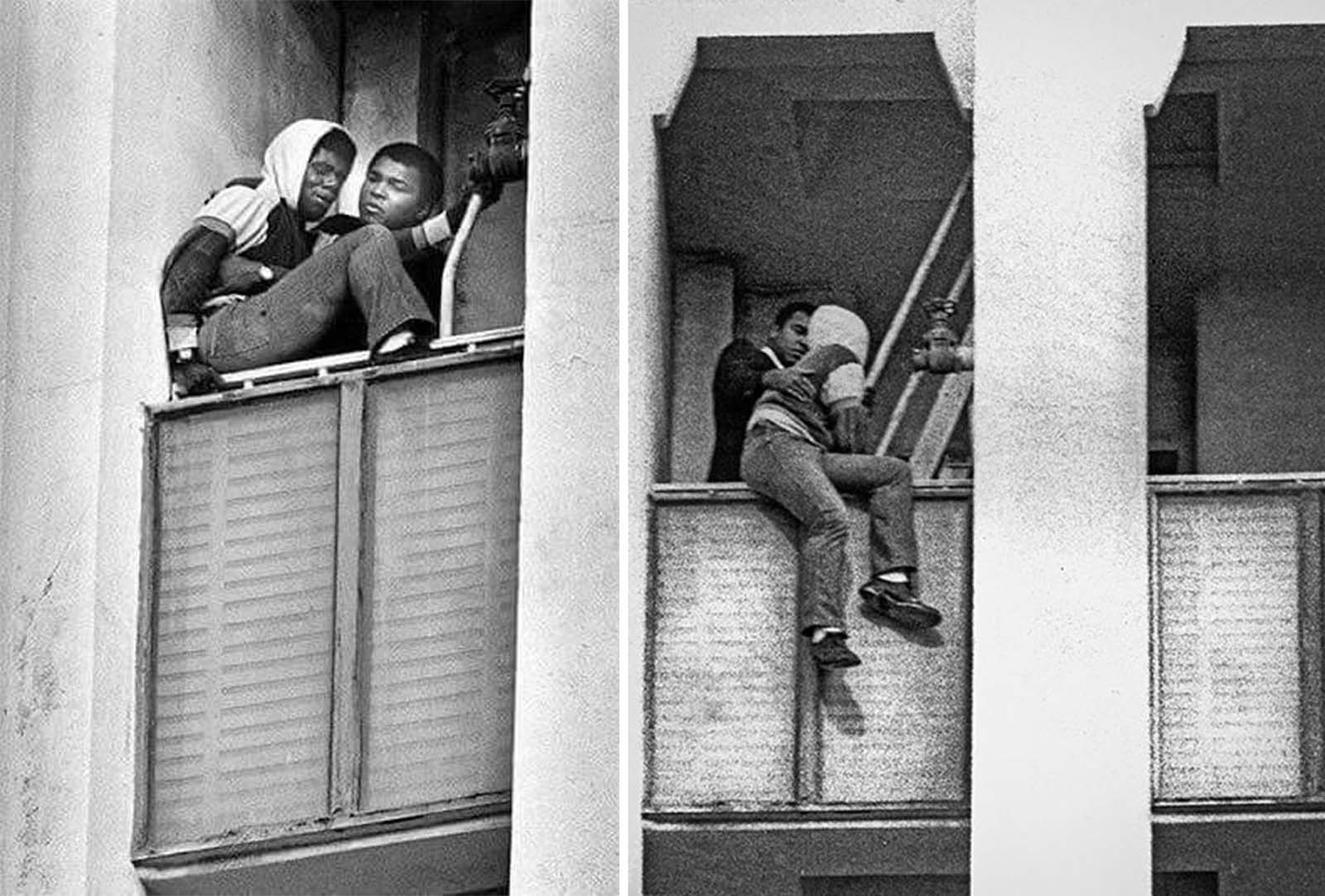 Ali (pictured helping the man down) leaned out of the window and told the man: 'You're my brother. I love you'