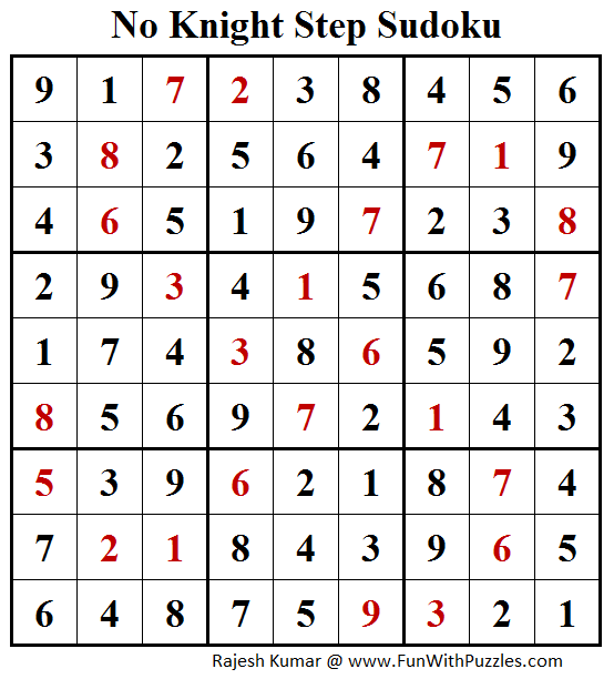 No Knight Step Sudoku (Sudoku for Adults #153) Solution