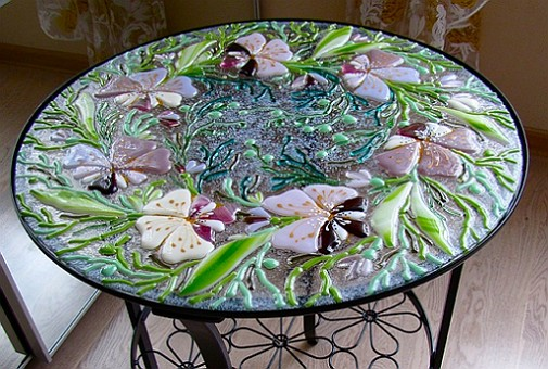 A Table With a Fused Stained Glass