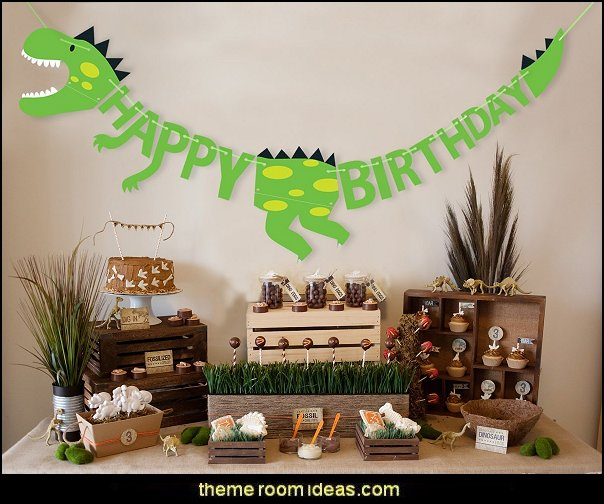 Dinosaur Happy Birthday Banner Party Supplies Decorations - Dino Jungle Jurassic Garland