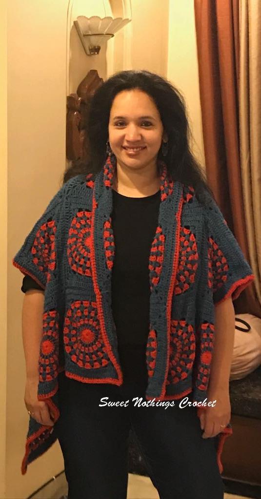 Sweet Nothings Crochet Granny Square Kimono Jacket