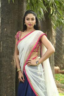 Angana Roy looks super cute in transparent white Half Saree at 7 Naatkal Press Meet