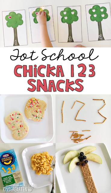 These yummy number themed snacks are perfect for Chicka Chicka 123 theme in tot school, preschool, or kindergarten!