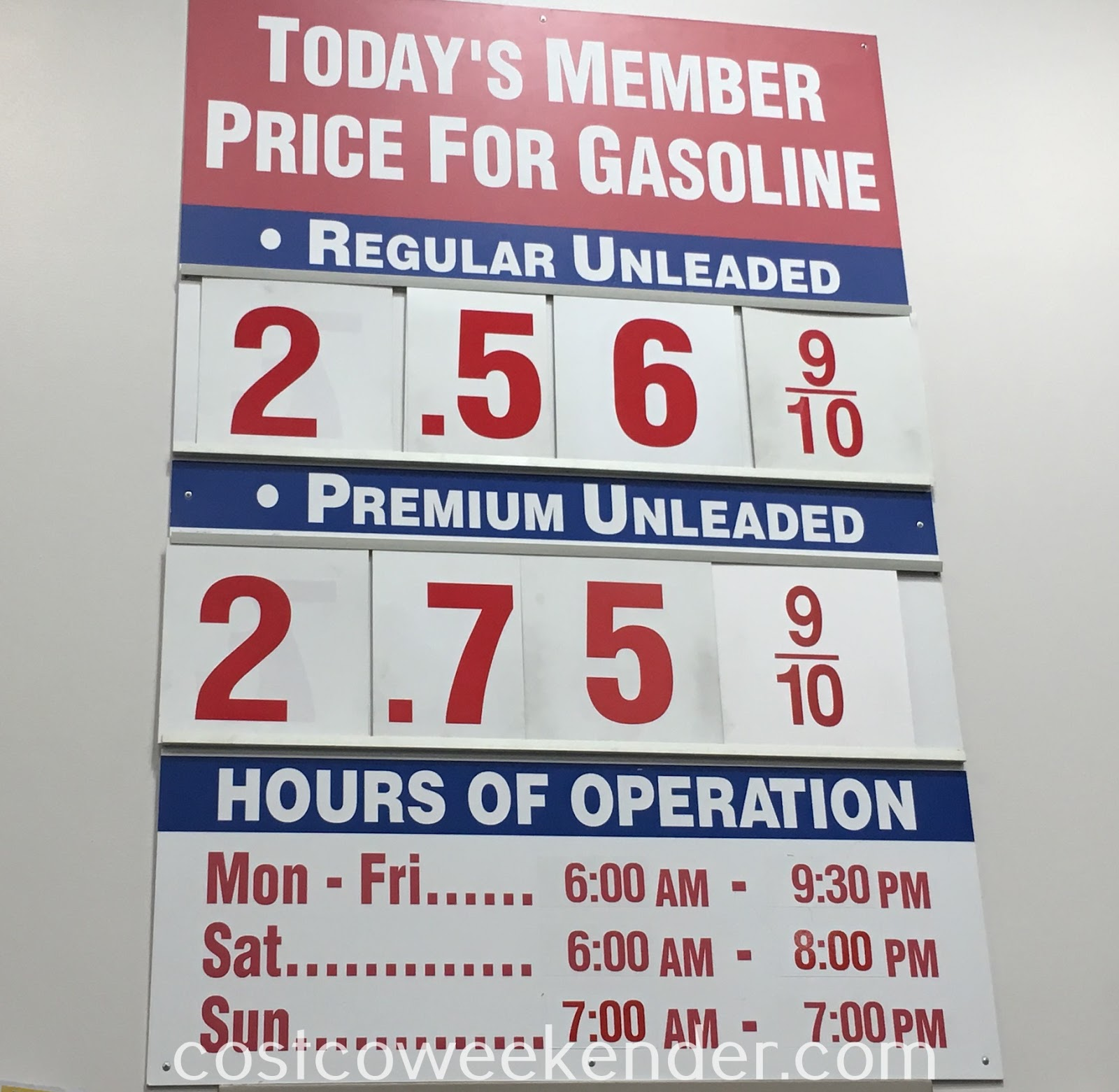 Costco gas for January 15, 2017 at Redwood City, CA