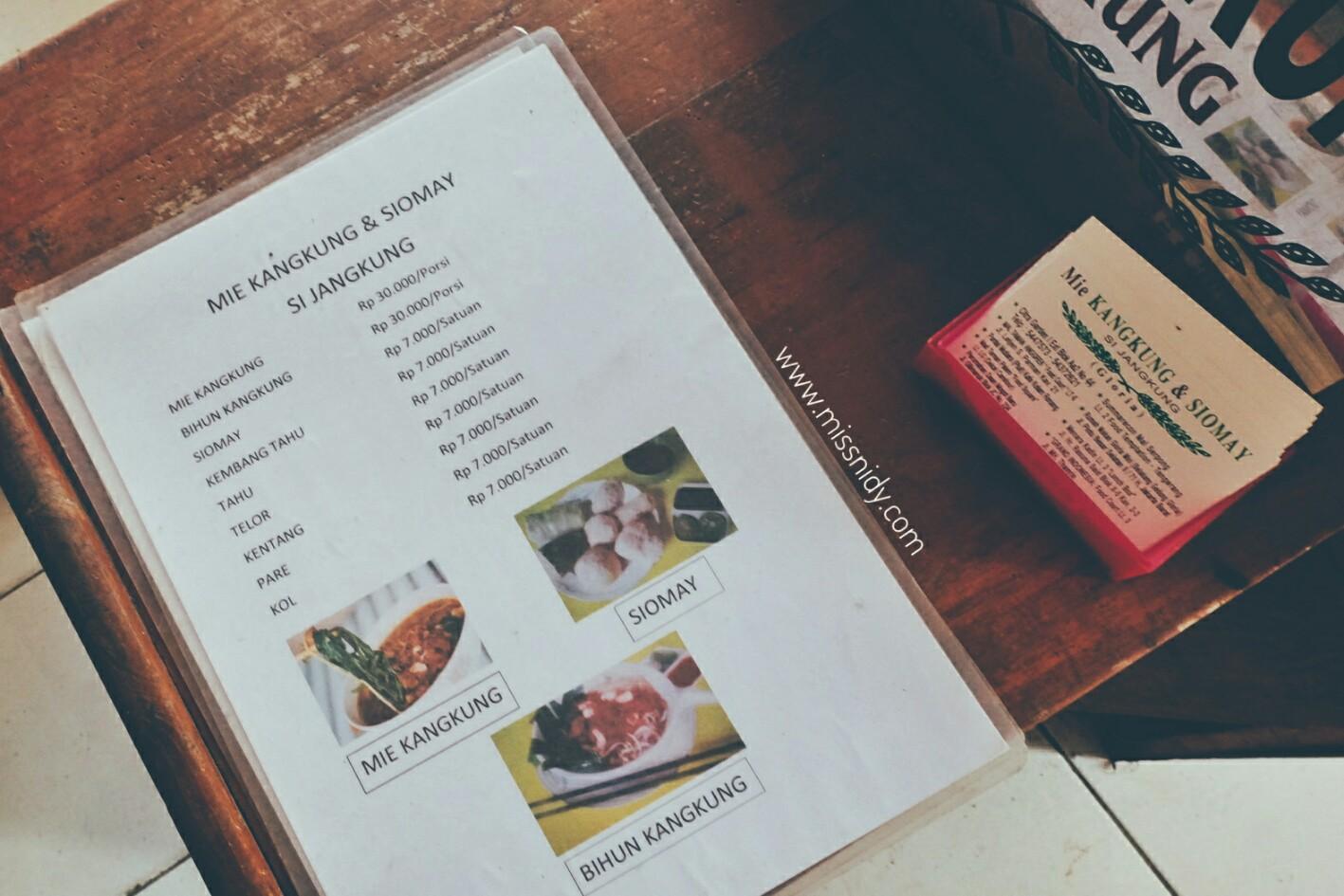 menu dan harga mie kangkung jangkung gang gloria