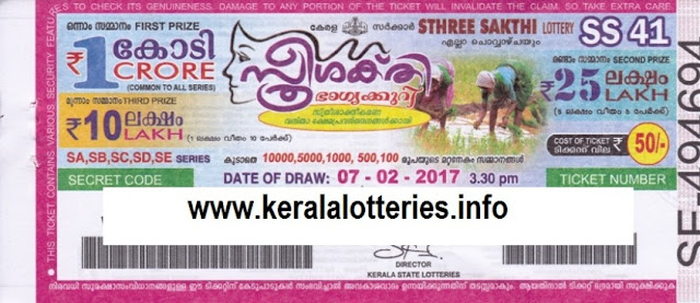 Kerala lottery result official copy of Sthree Sakthi (SS-54)