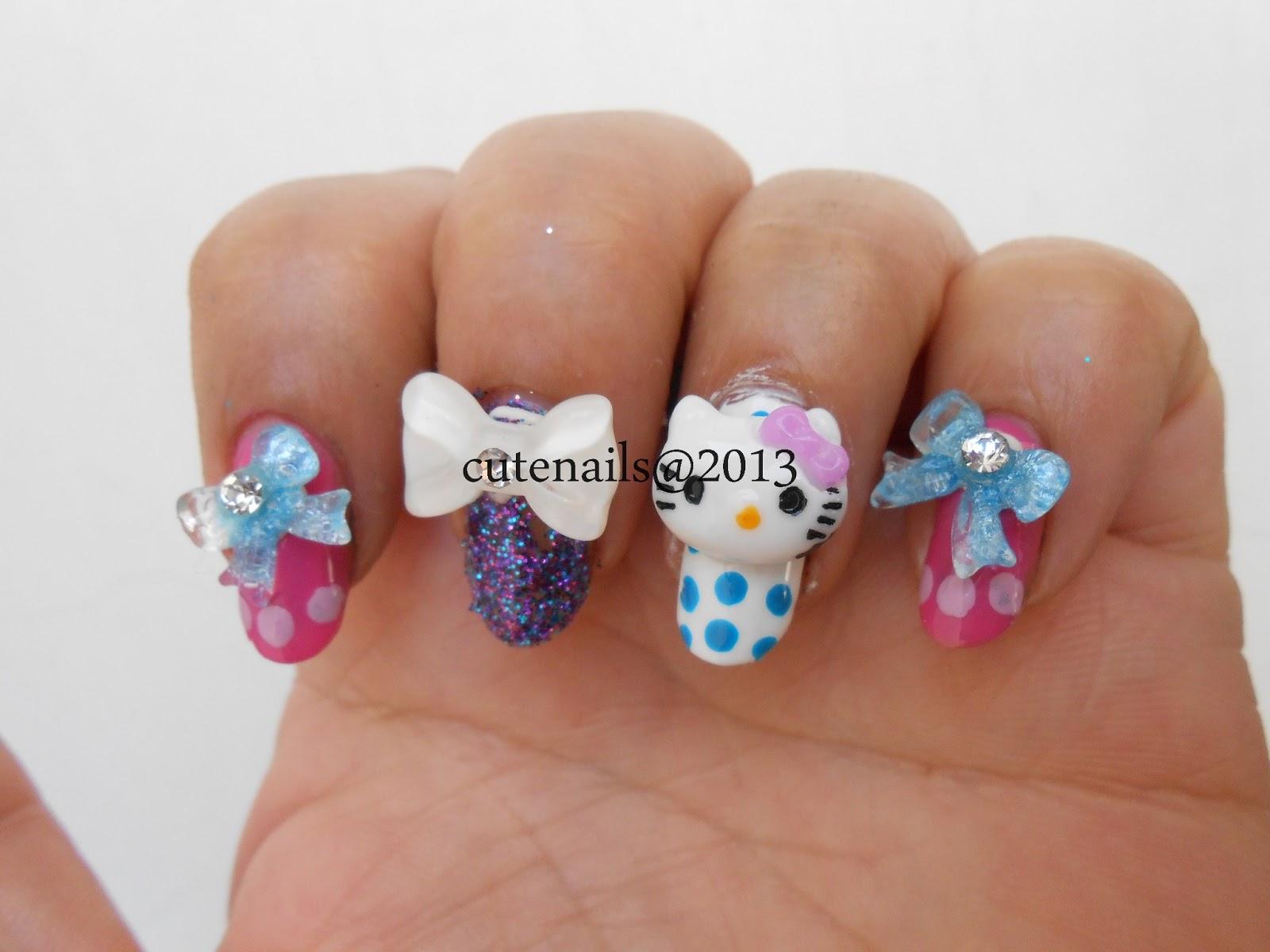 Cute nails: 3d hello kitty nail art