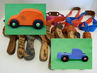 Hand carved sling shots and toy cars from JJLadell's on Etsy