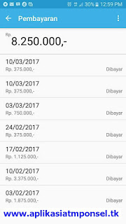 Bukti pembayaran dari Hasil menggunakan Aplikasi ATM PONSE yang terbukti membayar hasilL
