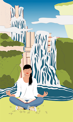 Woman looking calm and doing yoga in front of a waterfall