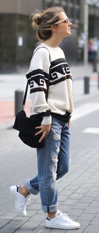 Outfits Club: 40 Outfit Ideas To Wear Your Boyfriend Jeans And Still Look Awesome