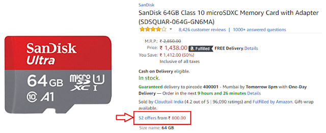 1400 Rs Ka Sandisk 64GB Class 10 Memory Card 800 Rs Me Buy Kare
