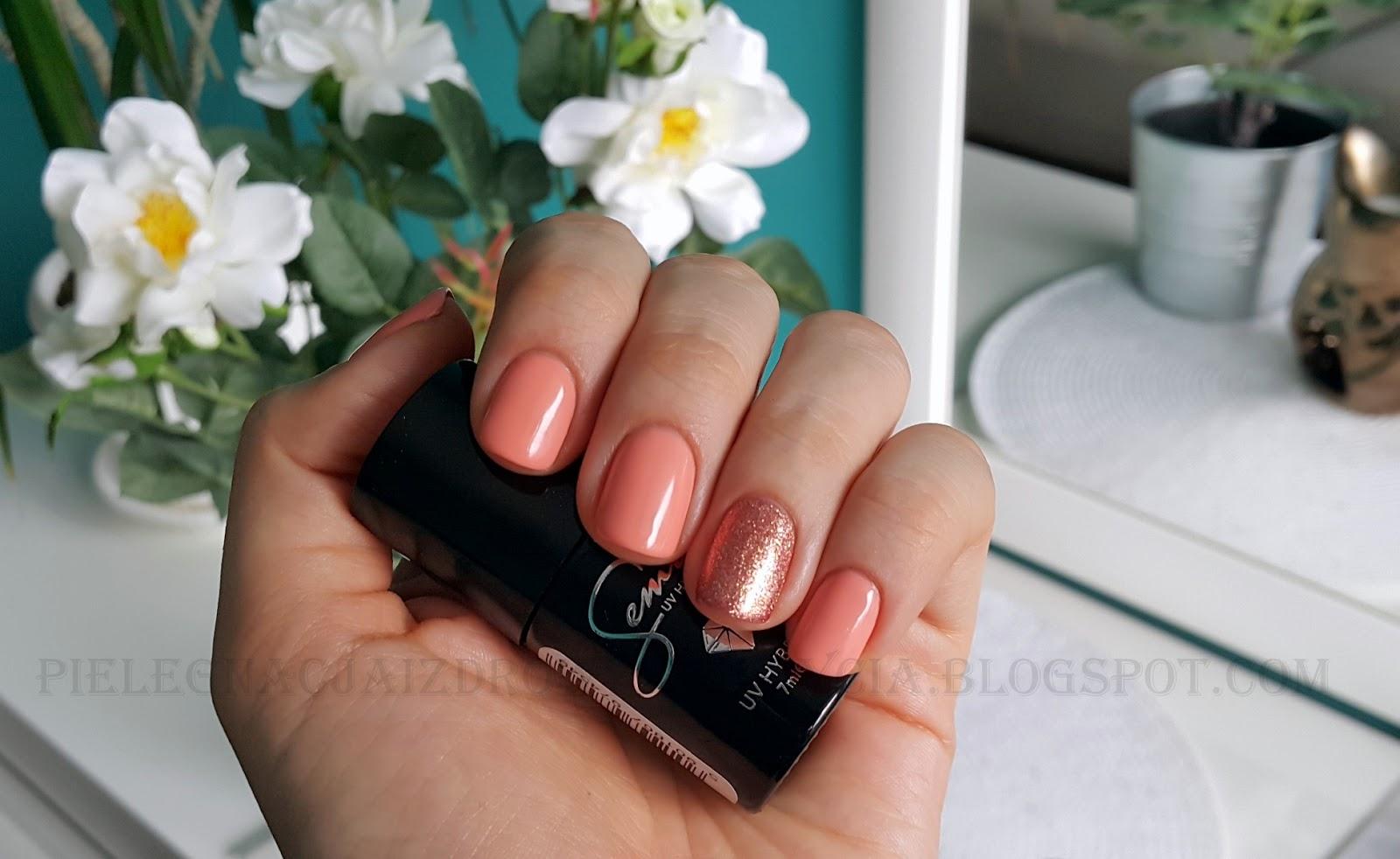 Pink Gold Semilac 094 i Peach Milk Semilac 055 swatche. Z czym łączyć Pink Gold Semilac?