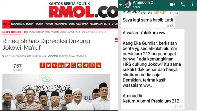 Ketum Alumni Presidium 212 Bantah HRS Diprediksi Dukung Jokowi-Ma'ruf