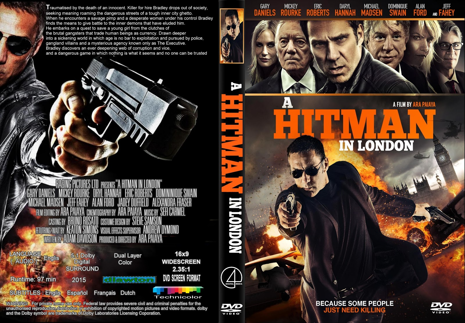 Download A Hitman in London BDRip XviD Dual Áudio A Hitman In London  282015 29 R2   Cover  26 Label DVD Movie