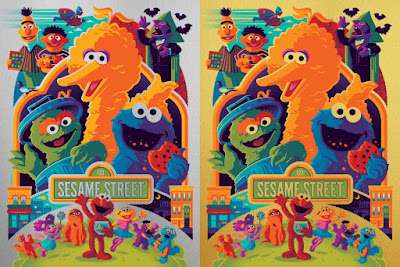 Sesame Street Screen Print by Tom Whalen x Dark Hall Mansion - Silver Foil Variant & Gold Foil Variant