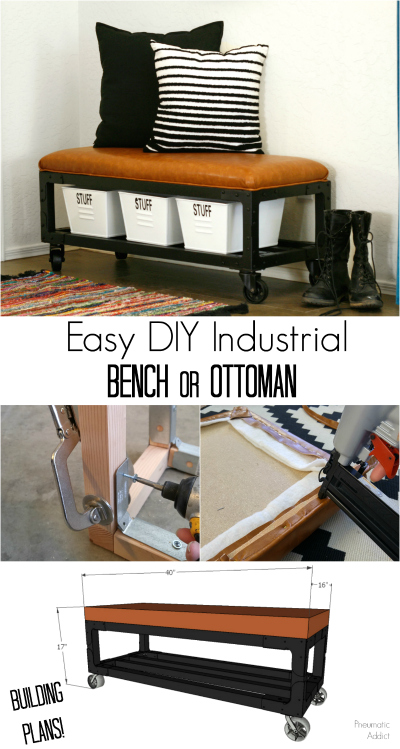 easy DIY industrial style bench or ottoman