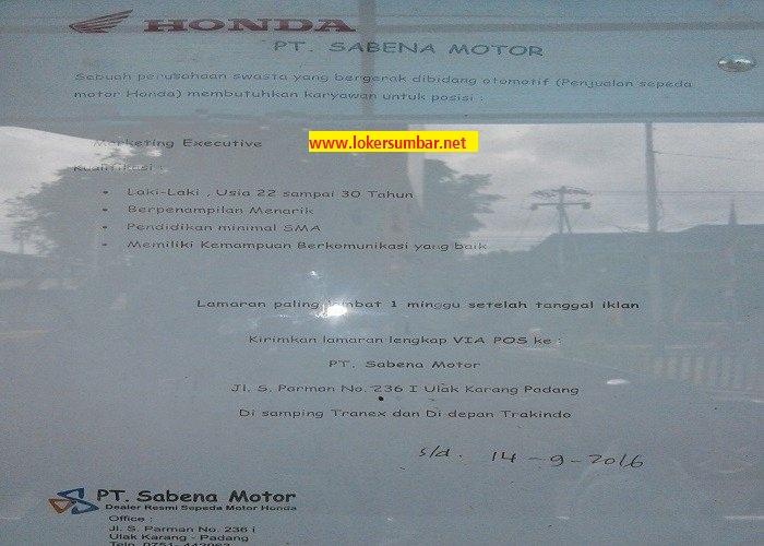Lowongan Kerja di Padang – PT.Sabena Motor – Marketing (Penutupan 14-9-2016)