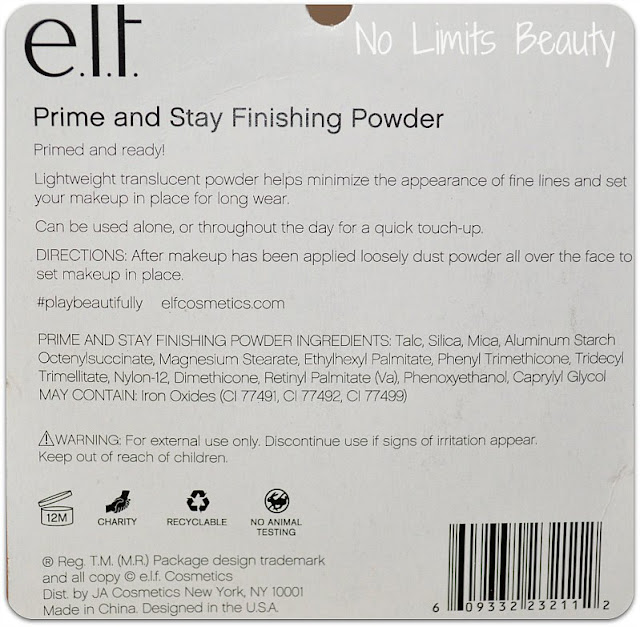 Prime and Stay Finishing Powder de ELF: ingredientes