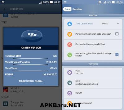 BBM Mod iPhone Style (IOS V3) v2.12.0.9 Apk