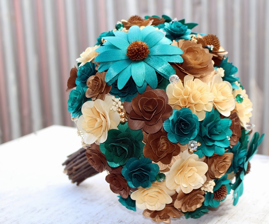 Brown And Teal Wedding Ideas: Teal Wedding: Bridal Bouquet Made Of Teal, Brown, Copper