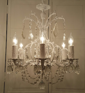 antique crystal chandeleir FRENCH BAROQUE rustic 6-light