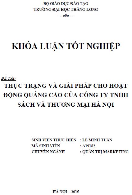 Thực trạng và giải pháp cho hoạt động quảng cáo của Công ty TNHH Sách và Thương mại Hà Nội