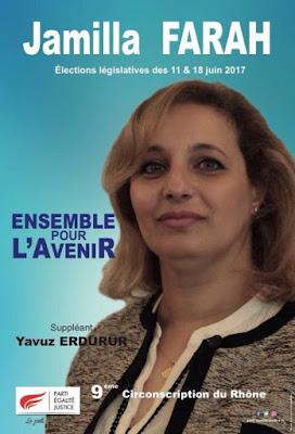 Jamilla Farah, candidate du PEJ aux législatives de juin 2017 dans la 9ème circonscription du Rhône