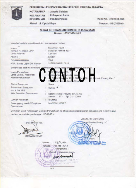 contoh surat keterangan domisili perusahaan (skdp)