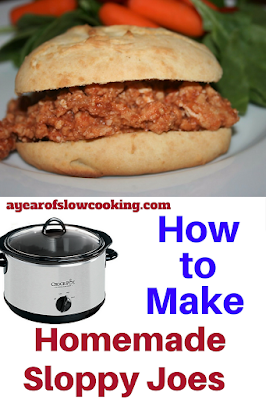 Make homemade from scratch sloppy joes in the crockpot slow cooker from ayearofslowcooking.com. Post also includes a recipe to make your own seasoning packet for sloppy joes.