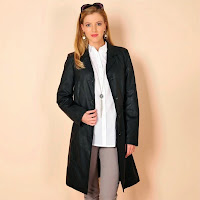 Trench aspect piele lungime 3/4
