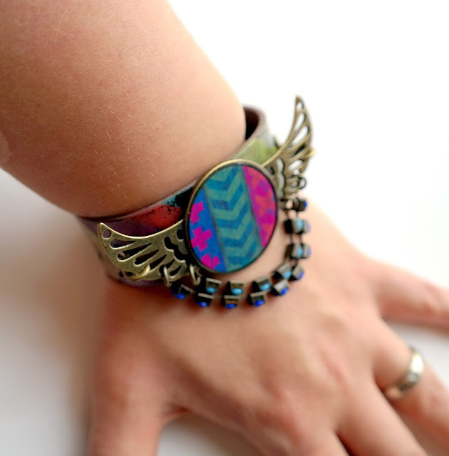 Embossed Leather Wings Cuff by Dana Tatar