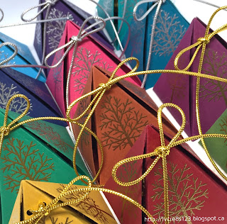 Linda Vich Creates: Christmas Crafting in Unseasonable November Heat. Pyramid Pals Thinlits were used to create jewel-toned treat boxes.